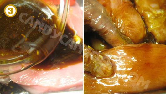 Ướp thịt với hỗn hợp gia vị cho thấm đều