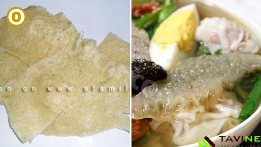 Bóng bì/ da heo khô (dried pork skin) trước và sau khi chế biến