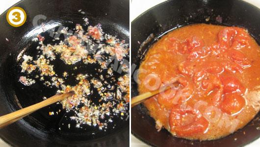 Phi hành khô thơm rồi xào cà chua chín mềm