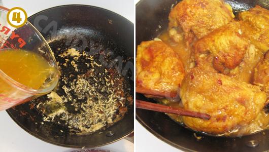 Đun nước sốt cam với gà rán cho thật thấm