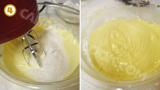 Đánh hỗn hợp bột với lòng đỏ trứng cho tới khi hòa quện