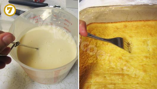 Pha hỗn hợp sữa và sâm bánh để tạo thêm lỗ khí cho bánh hút được nhiều sữa nhất