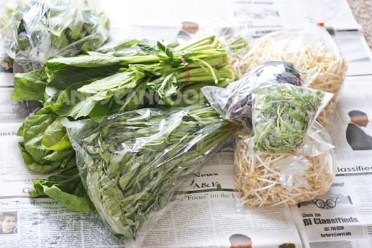 Thành quả các loại rau khi đi chợ về của tớ