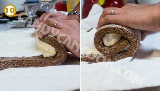 Cuộn bánh cùng kem tươi chặt tay