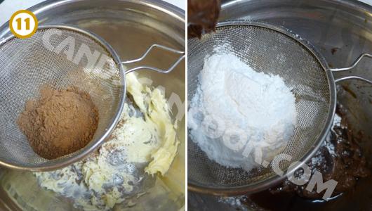 Đánh bơ thành dạng kem, rồi đánh cùng bột ca cao và đường bột