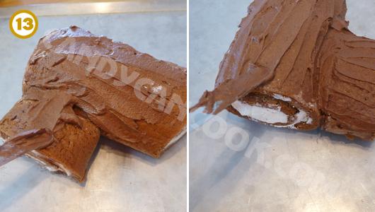 Trét kem bơ lên ngoài khúc gỗ và tạo hình