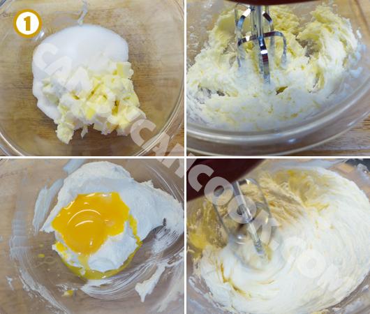 Đánh bơ và đường; rồi trứng và vanilla cho hoà quện