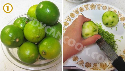 Chanh rửa sạch, bào phần vỏ xanh để cho đỡ hăng