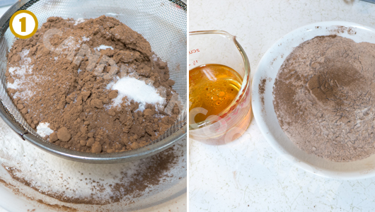 Đong đo, chuẩn bị sẵn các nguyên liệu làm cupcakes sô-cô-la