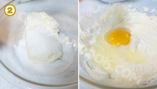 Đánh hỗn hợp cream cheese với đường, trứng và vanilla