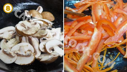Xào nấm và cà rốt, ớt chuông