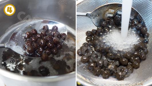 Hạt trân châu chín mềm, vớt ra, xối qua nước lạnh