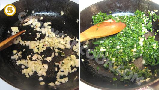 Xào hành tỏi và kale rồi trộn thịt bacon