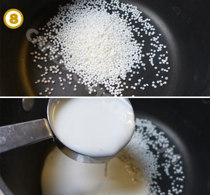 Đun nước cốt dừa và bột báng