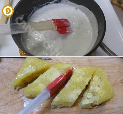 Để nguội bánh và nước cốt dừa trước khi thưởng thức