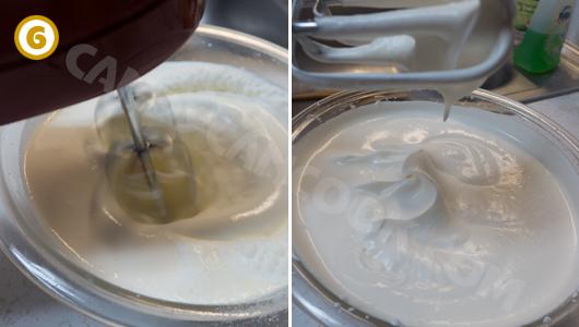 Đánh kem tươi để chuẩn bị phần nhân