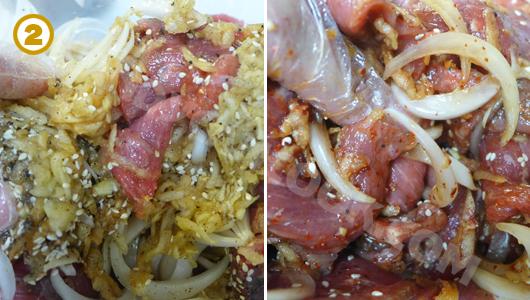 Trộn thịt bò với tất các các nguyên liệu gia vị cho thật thấm